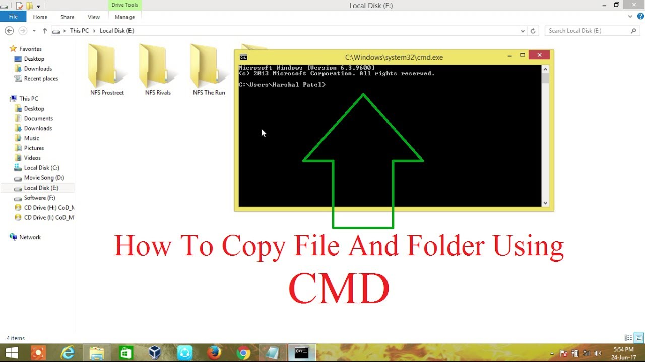 how to open folder in cmd windows 7