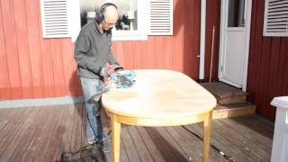 Sand That Tabletop Quickly Without Moving Your Feet. Time Lapse