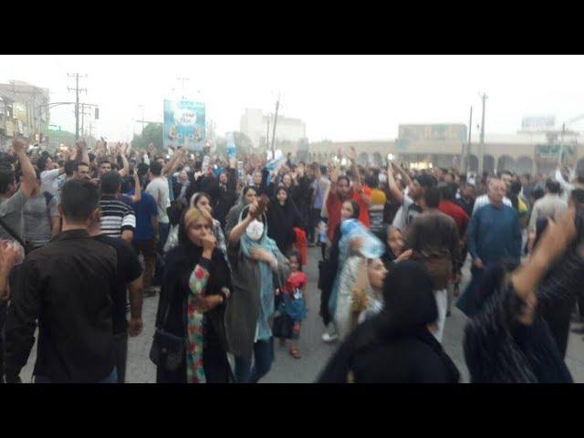 KHORRAMSHAHR, Southwestern Iran, June 29, 2018. People protest against salty drinking water