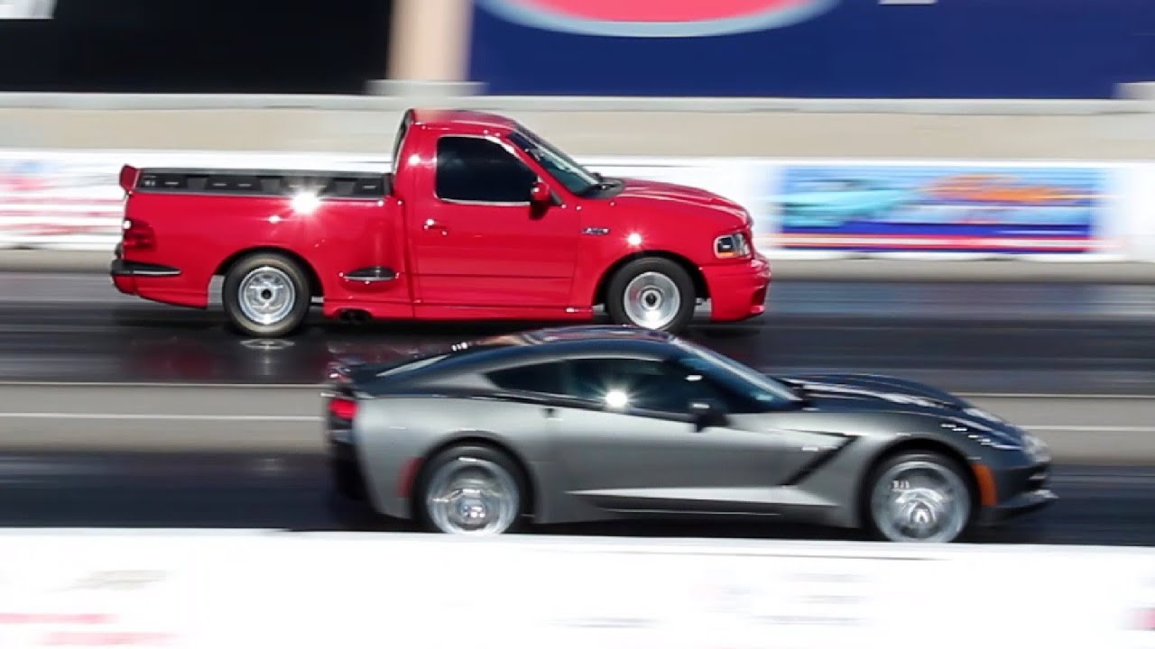 chevy corvette c7 vs ford svt lightning drag race youtube. Black Bedroom Furniture Sets. Home Design Ideas