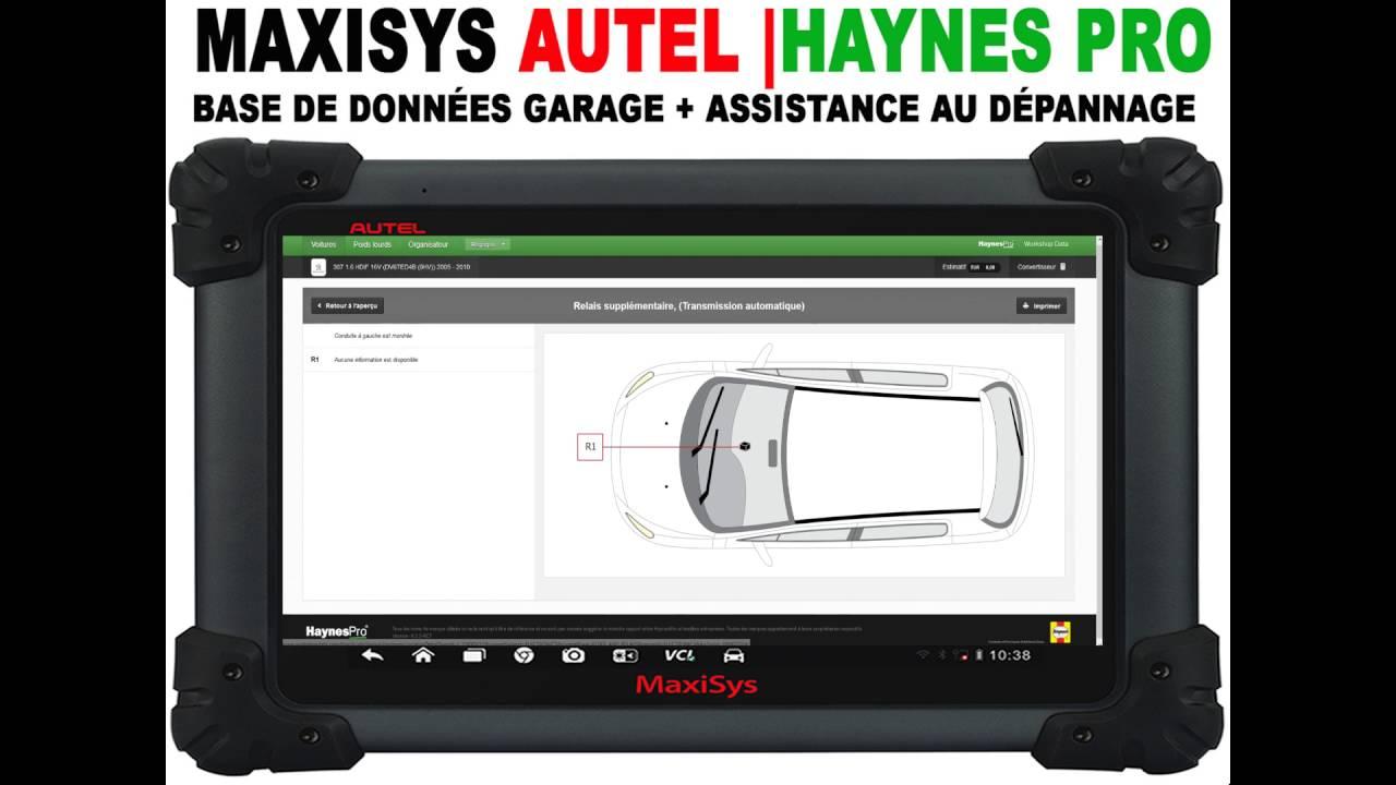 fbc3dec1c78b valise AUTEL MaxiSys + base de données Garage Haynes + Assistant de  diagnostic de panne