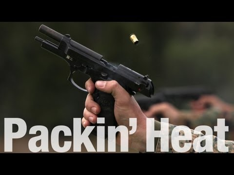 Marine Fires 9mm Pistol in Slow Motion