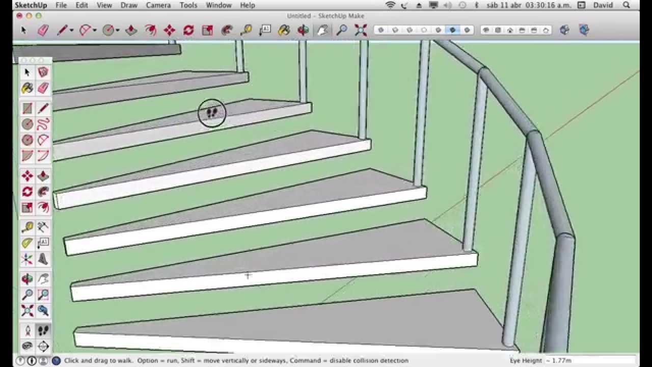 Como hacer gradas en espiral en sketchup youtube for Como hacer gradas