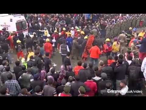 Turkey mine explosion: rescuers race to reach trapped miners