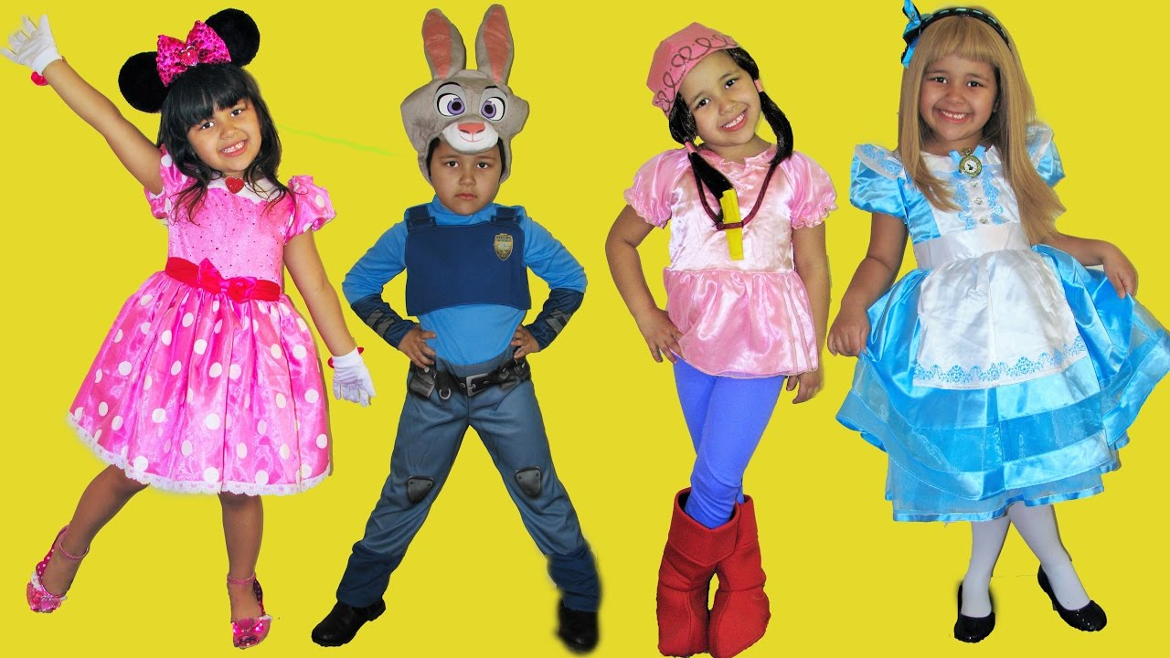 7 Halloween Costumes Disney Dress Up Minnie Mouse Mal Dory Alice in Wonderland  sc 1 st  YouTube & 7 Halloween Costumes Disney Dress Up Minnie Mouse Mal Dory Alice in ...