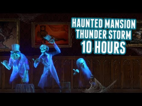 Disney Haunted Mansion Rain & Thunderstorm Relaxing 10 Hour Sounds - Portrait Gallery W/ Ghosts