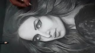 Katrina Kaif | Charcoal Sketch | Black Portrait | Time lapse | By Shubham Sharma | Size A3
