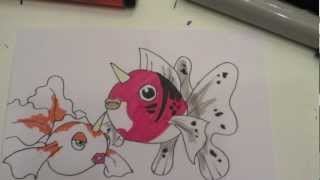 How to draw Pokemon: NO.118 Goldeen, No.119 Seaking