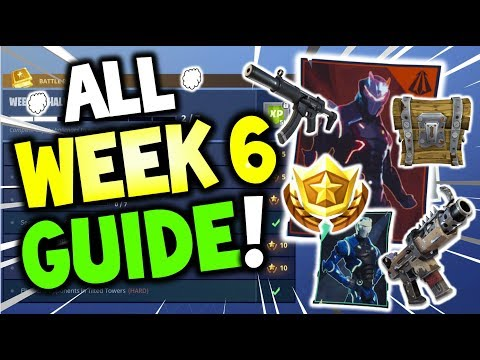 ALL Fortnite WEEK 6 Challenges GUIDE! Search Between.. Spray Over Different Posters Spots - Season 4