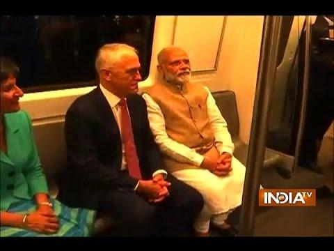 Australian PM Malcolm Turnbull took a ride in the Delhi Metro with PM Narendra Modi
