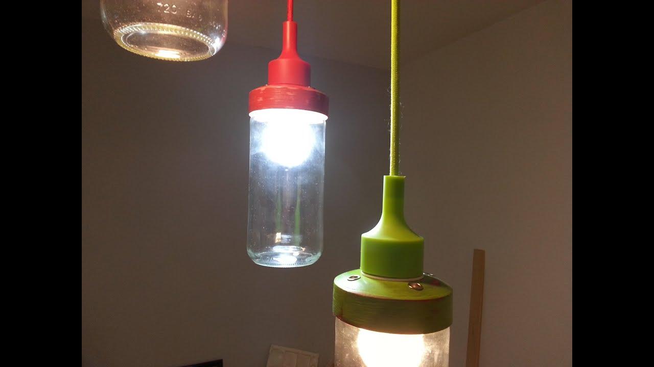 Reciclaje lampara con envases de vidrio recycled glass - Lamparas con botes de cristal ...
