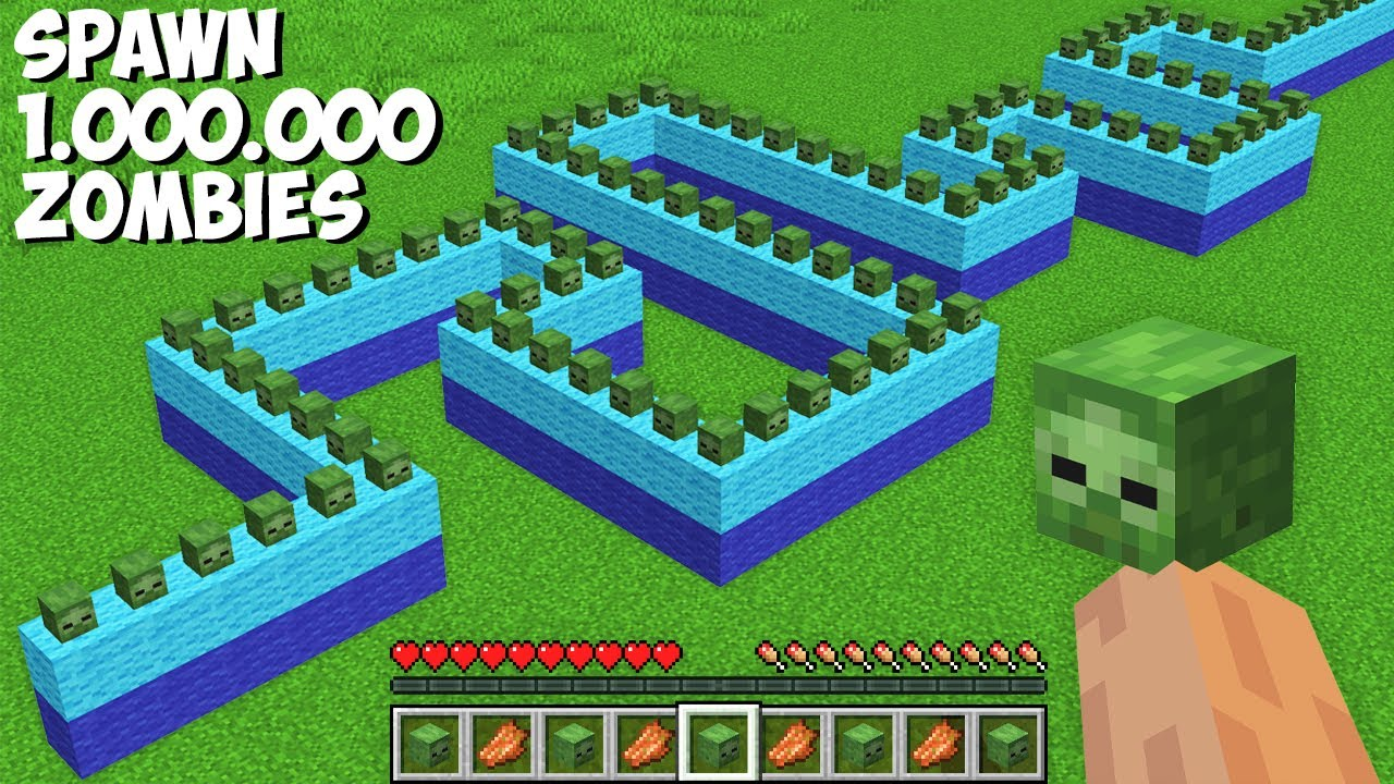 What if you SPAWN 1,000,000 ZOMBIES AT ONCE in Minecraft ? HOW TO SUMMON ZOMBIES ARMY !