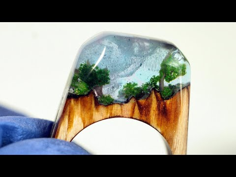 How to make a Resin Wood Ring .DIY! Pierścionek z Żywicy i Drewna. Jewelry Art! Secret Wood