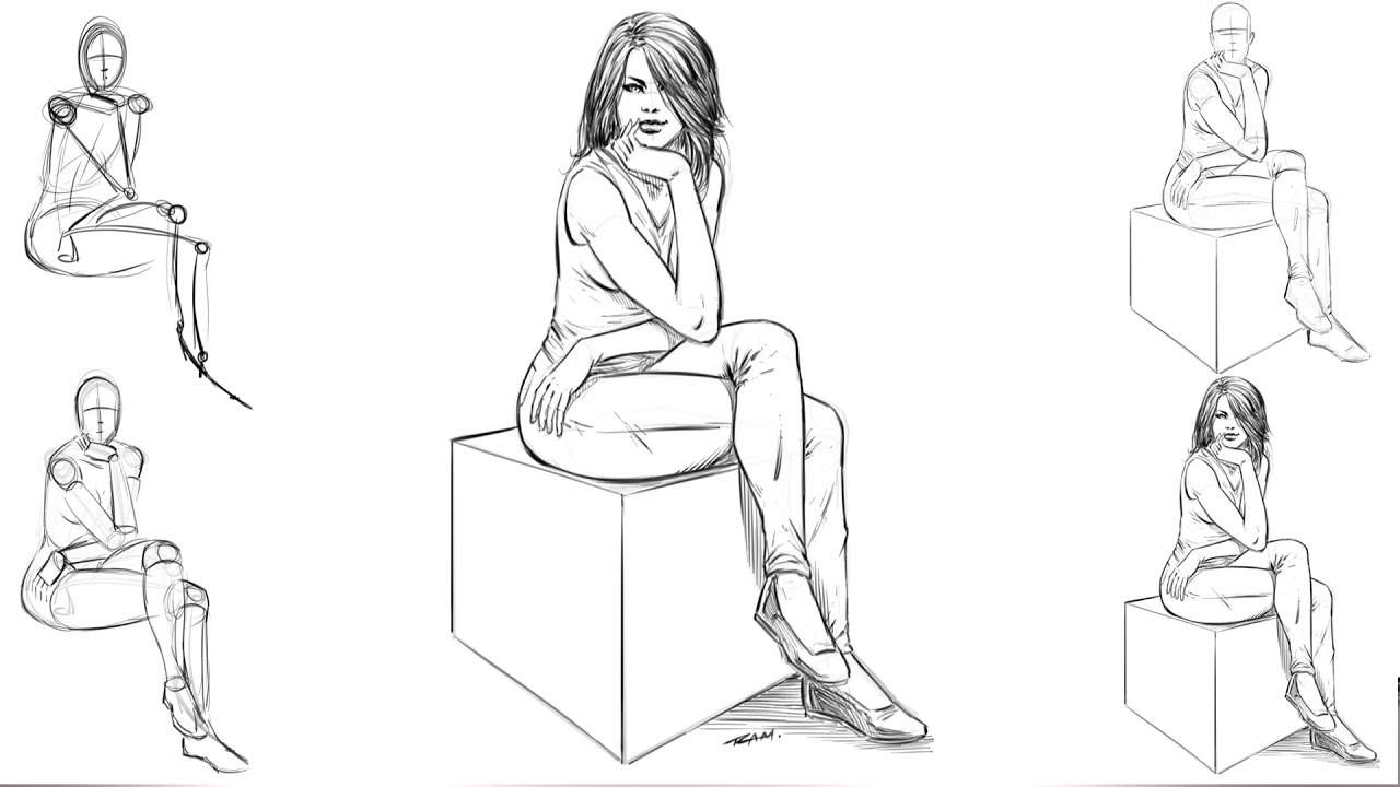 How to draw a woman sitting down step by step