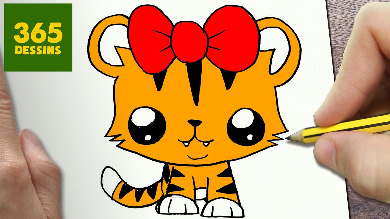 Comment Dessiner Tigresse Kawaii Etape Par Etape Dessins Kawaii