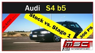 audi s4 b5 avant stock vs stage 1 0 100 100 200 topspeed by motorsportcheck