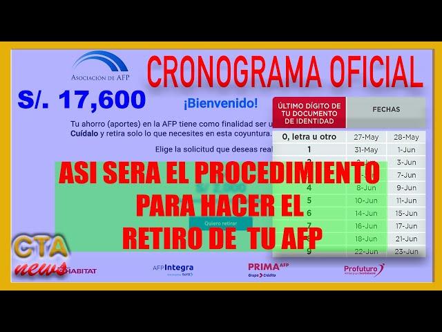 CRONOGRAMA OFICIAL RETIRO AFP: 🔴 SE PUBLICO cronograma Inicia 27 de MAYO 2021