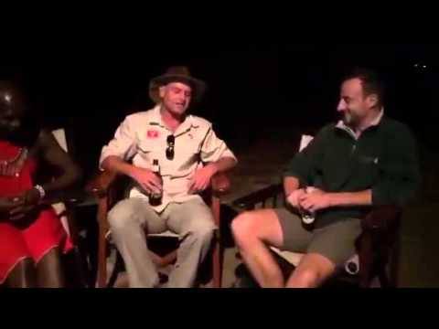 Fireside chat with local Masai safari guide Moses and Mark of Sala's Camp