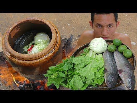 Primitive Technology: Fishing Big Fish and Cook in Water Tank Eating Delicious