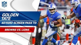 Golden Tate Turns on the Jets for 40-Yd Screen Pass TD ✈️ | Browns vs. Lions | NFL Wk 10 Highlights
