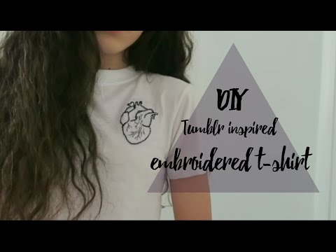 DIY embroidered t-shirt anatomical heart // tumblr and brandy melville inspired