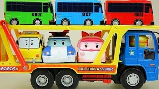 Robocar Poli car toys and Tayo bus on Pororo Carrier car