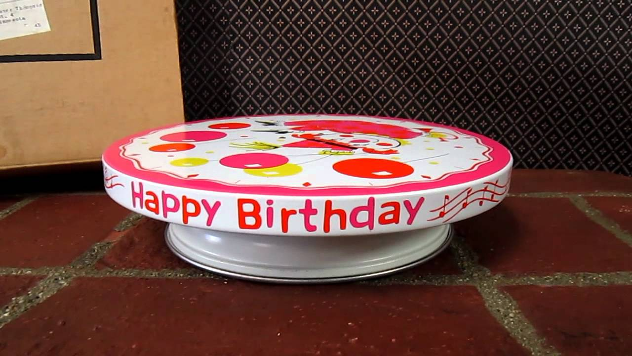 Plays Happy Birthday Cake Plate Vintage 1960s Girls Clown
