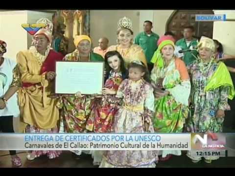 Entregan Certificado de Unesco al Carnaval de El Callao como Patrimonio de la Humanidad