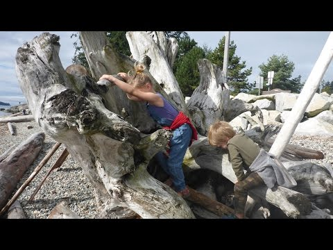 Survival Kids Build Fort On Shores of Salish Sea