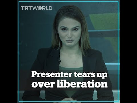 Azerbaijani news presenter cries while reporting the liberation of lands