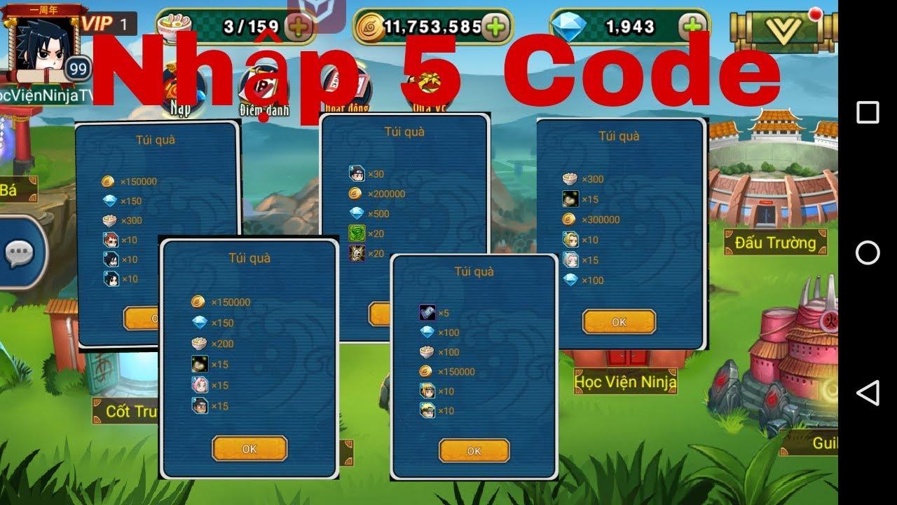 Học Viện Ninja:#12 Thử mở 5 giftcode xem được những gì-Nagaba TV