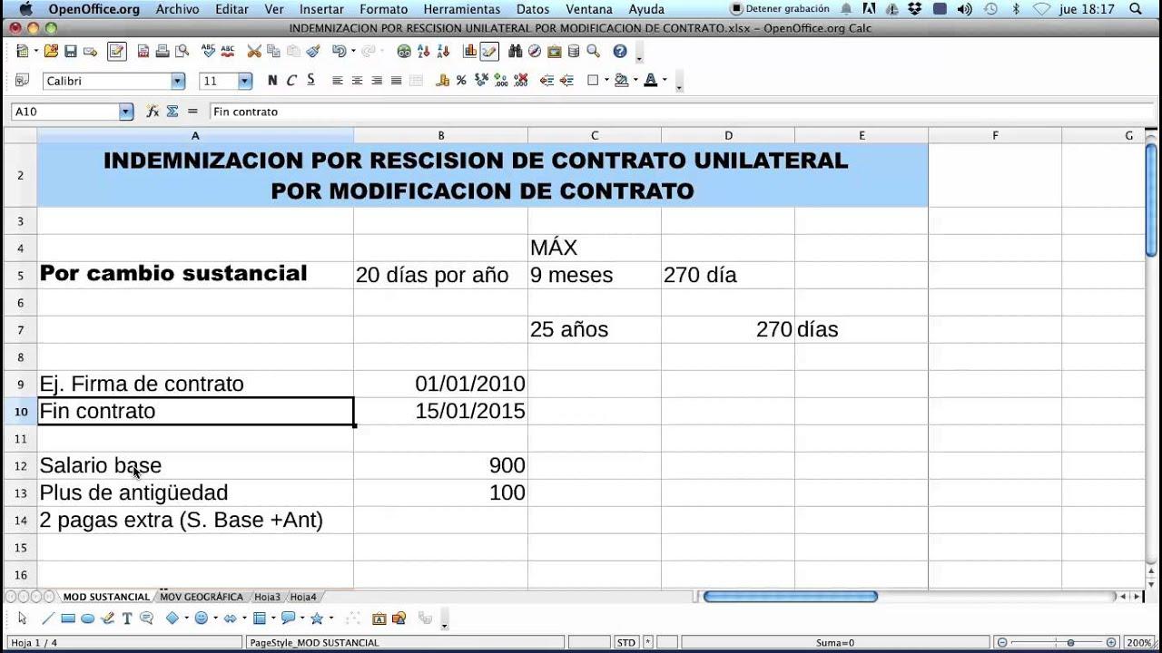 Calculo de Indemnizacion Por Modificacion Sustancial del Contrato ...
