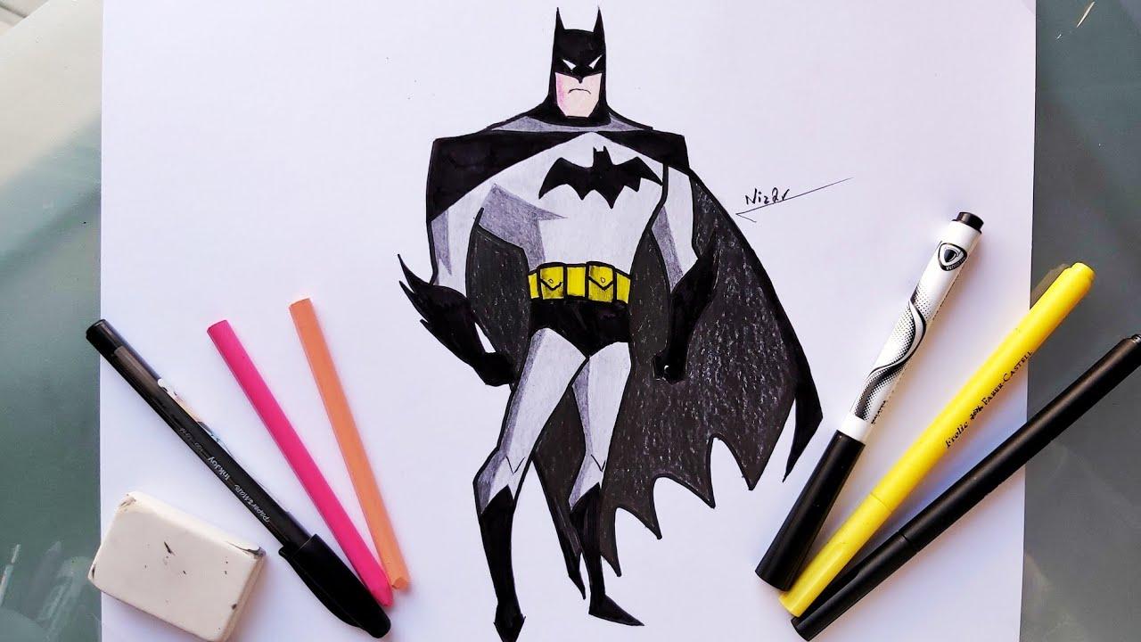 Apprendre Comment Dessiner Batman Etape Par Etape En Couleur Youtube