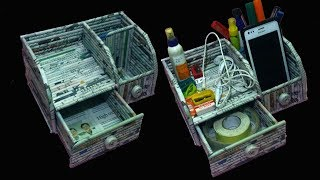 How to make a Desk Organizer with mobile and pen holder | Newspaper 27 | All type Videyos