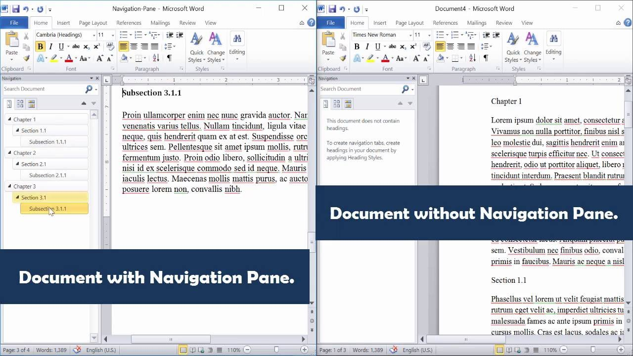 Word: Create A Navigation Pane In Word 2010 [Word 2013, Word