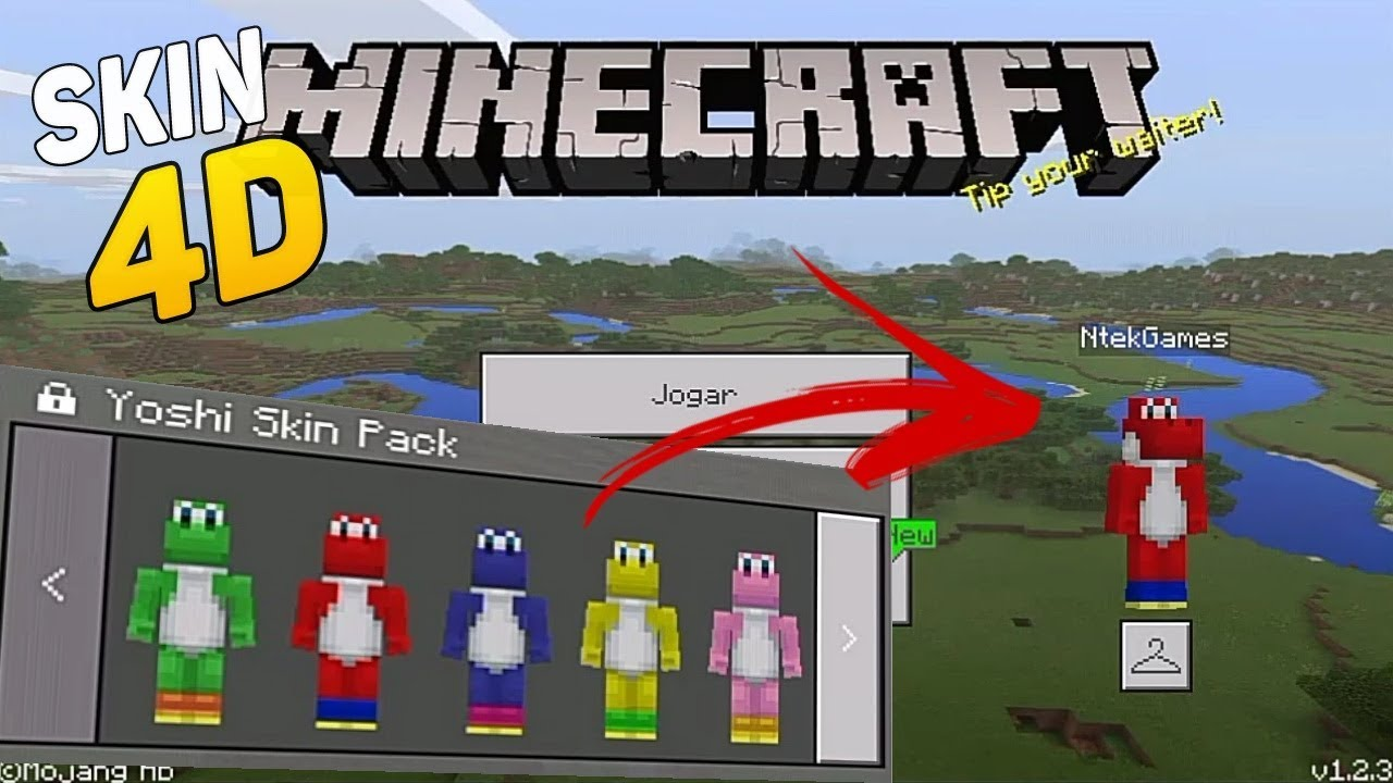 Minecraft PE SKIN PACK COMO SE TRANSFORMA EM YOSHI SUPER MARIO - Descargar skins para minecraft pe yoshi