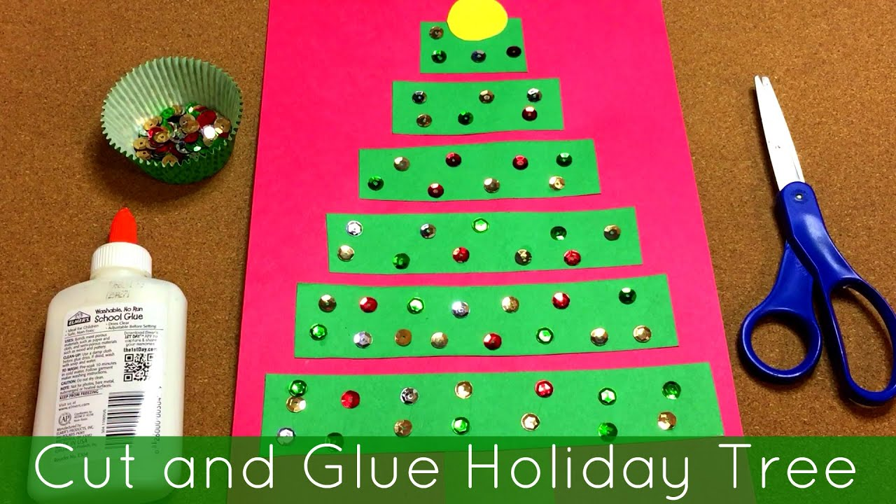 Cut and Glue Holiday Tree Art Project For Preschool and Kindergarten ...