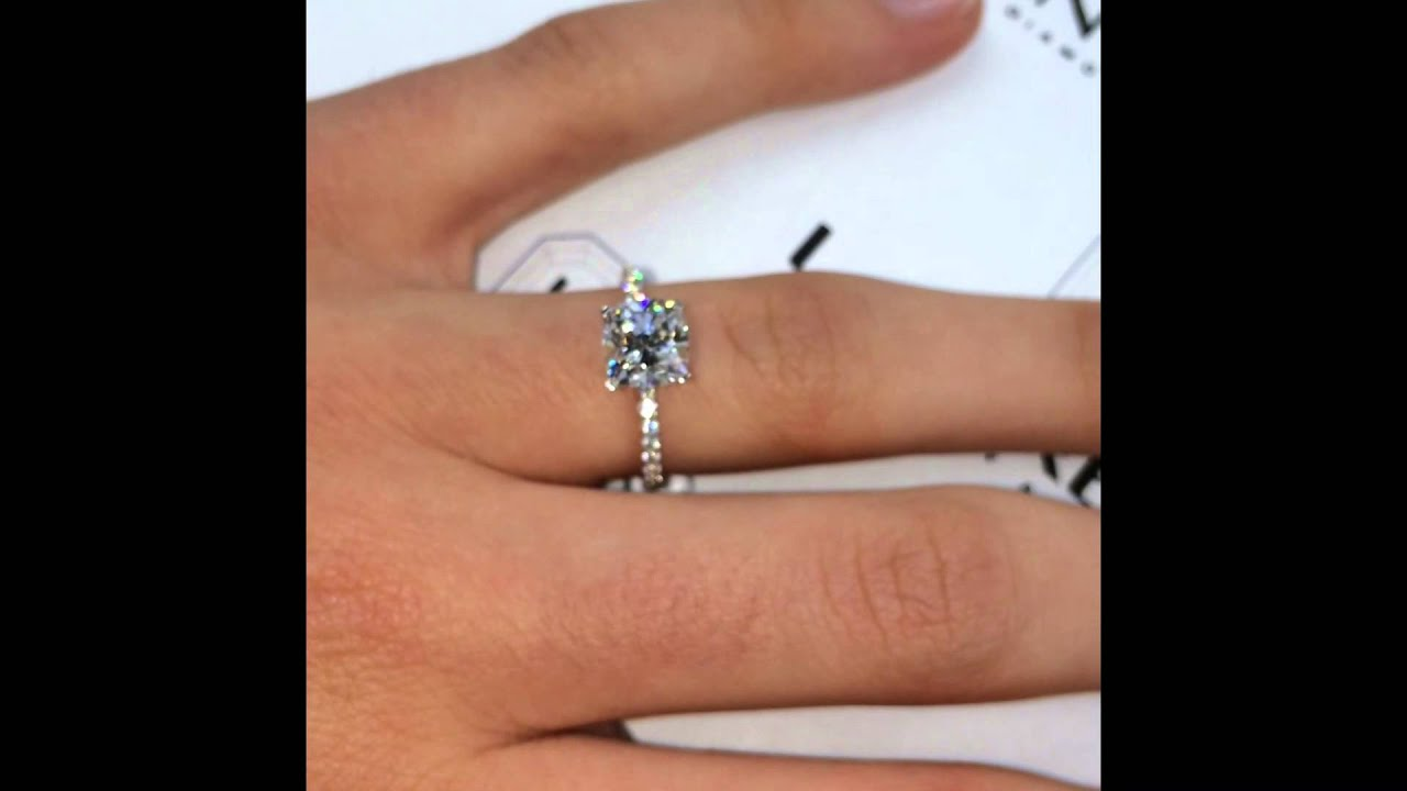 1 60 Ct Cushion Cut Diamond In Micro Pave Engagement Ring