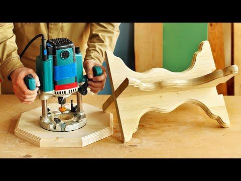4K Изготовление и фрезерование фигурного табурета, Making And Milling Small Wooden Chair