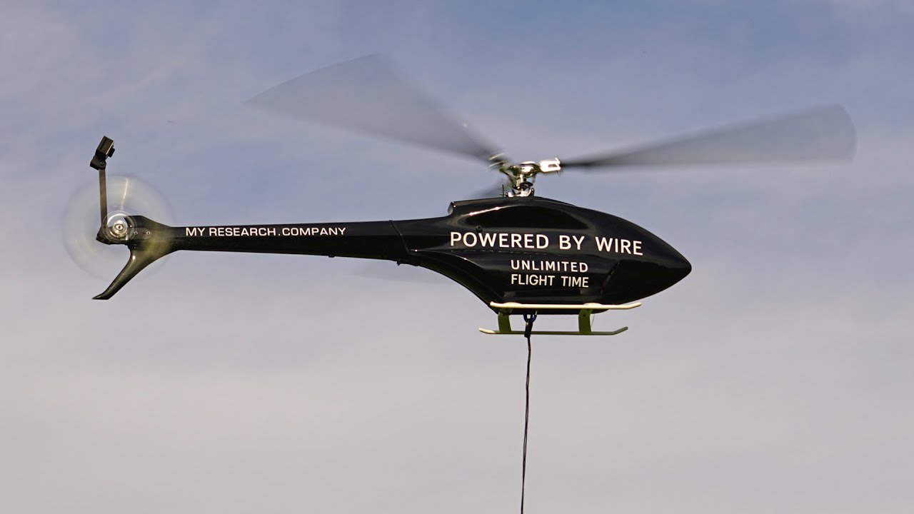 Ecilop Observer - tethered helicopter powered by wire - YouTube