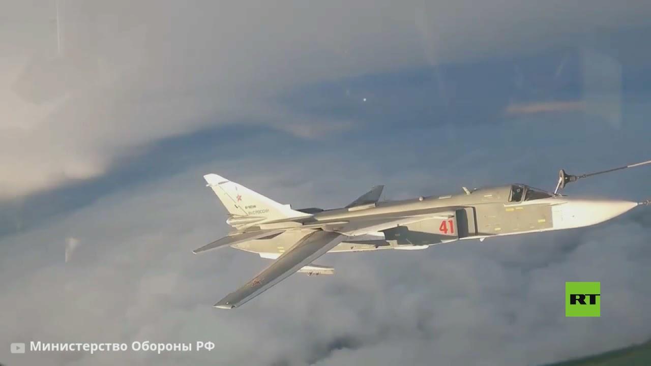 فيديو يظهر تزويد مقاتلات سو-30 و سو-24 بالوقود جوا