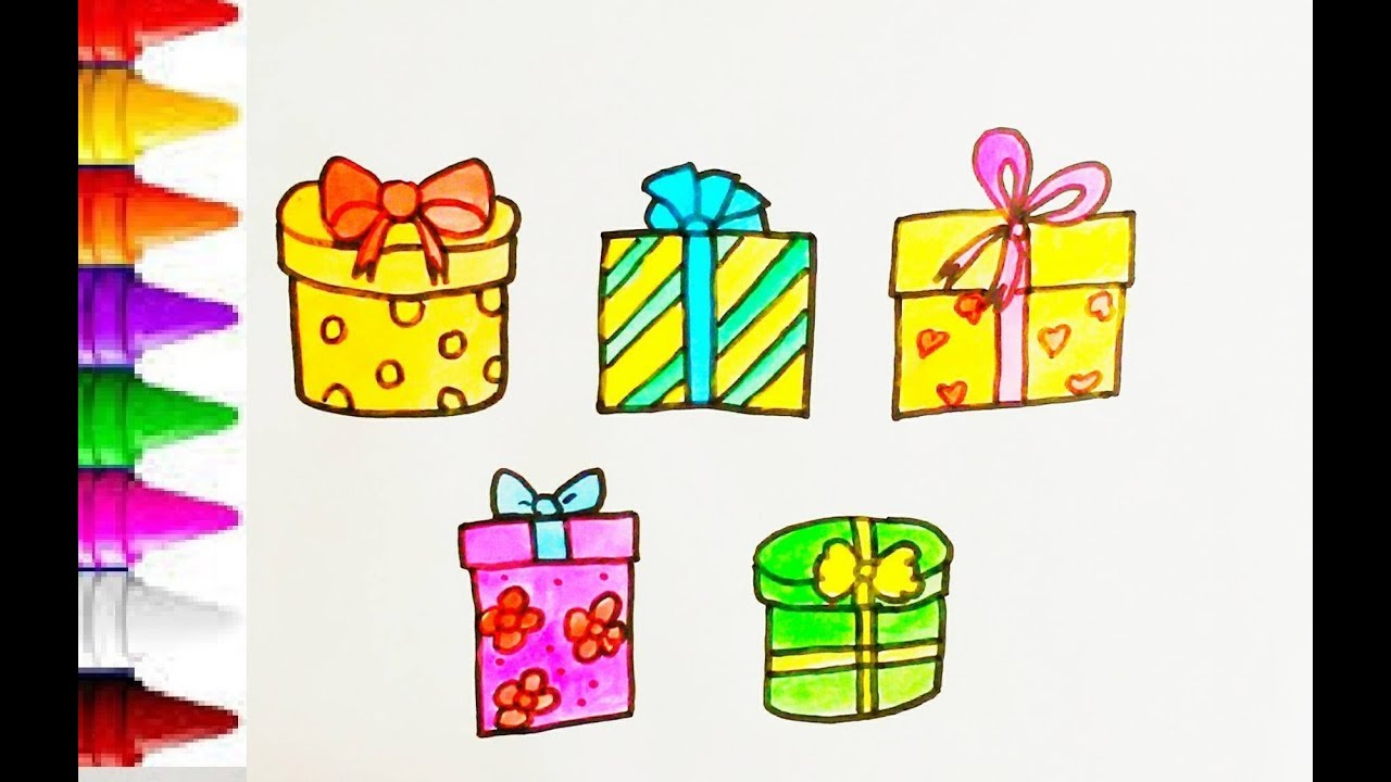 Coloring Pages Gift Box For Kid How To Draw Gift Box Step To Step