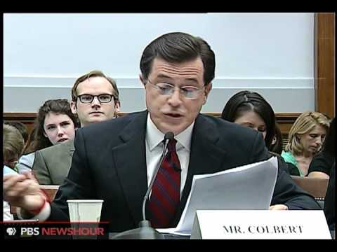 Thumbnail: Colbert stays in character at congressional hearing