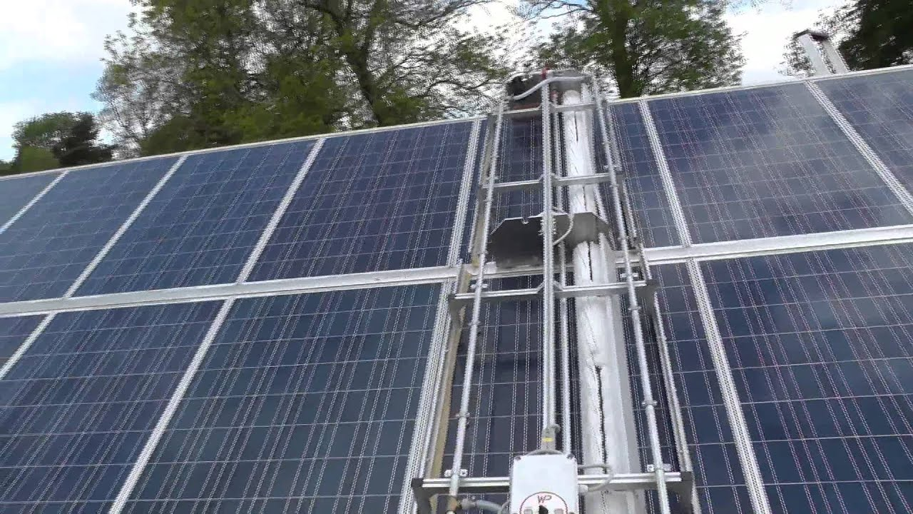 Automated Solar Panel Cleaning Robot Cleaning Solar Panels