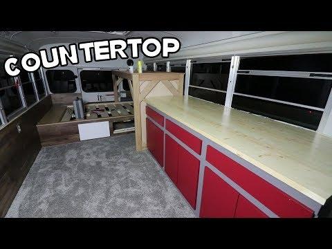 Adventure Bus Build Pt. 13 - Countertop, Wood Treatment, & Paint!