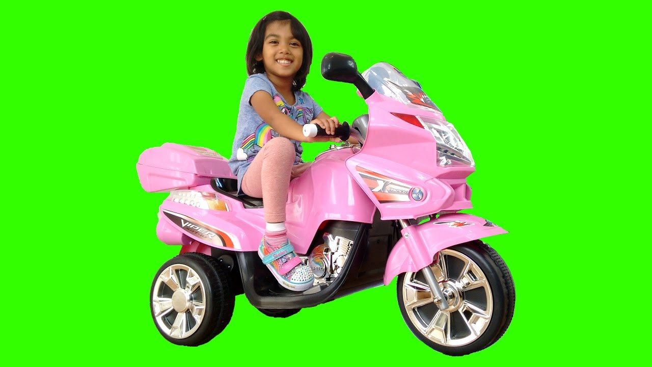 pink bmw style ride on motorbike power wheels   surprise toy