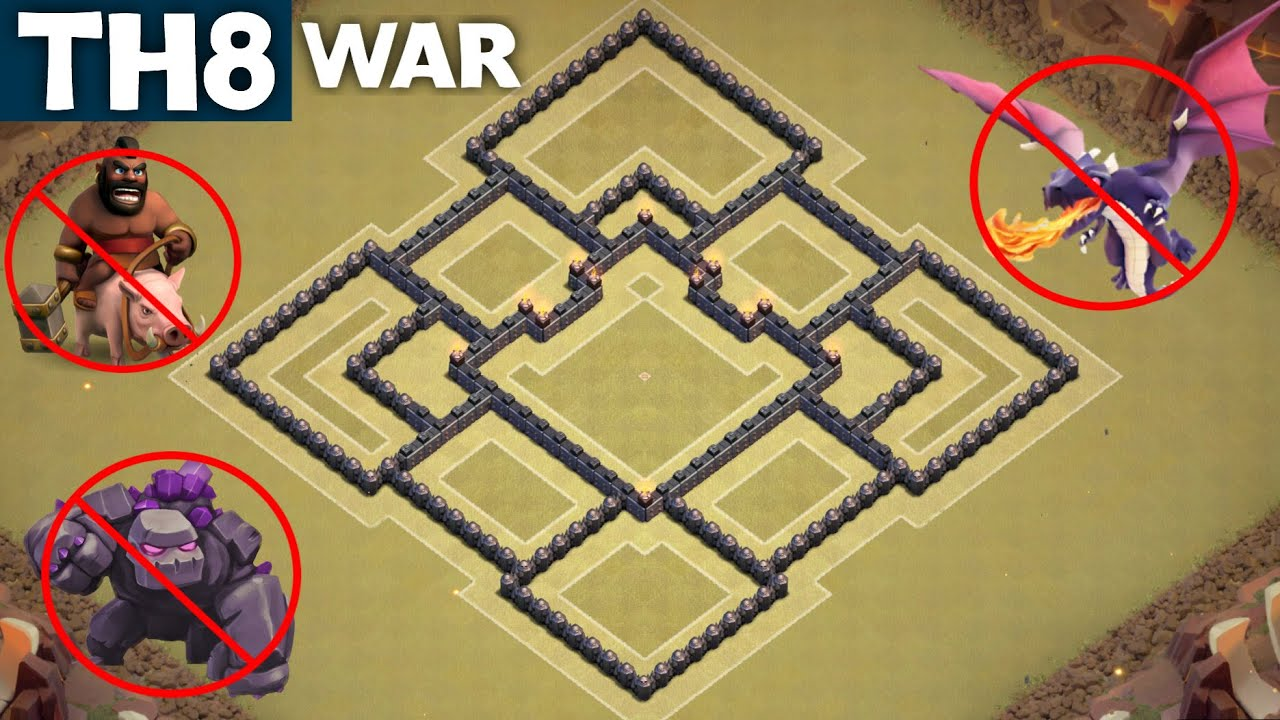 Best th8 war base town hall 8 anti gowipe anti drag anti hog