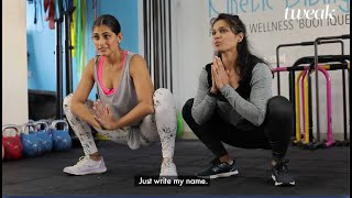 Working out with Kubbra Sait's trainer