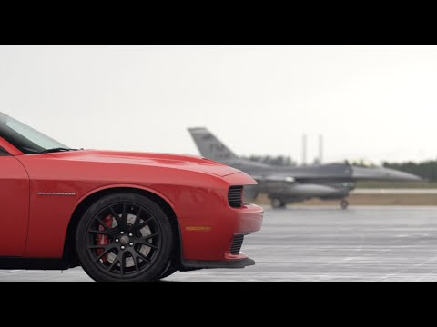 Dodge Challenger SRT Hellcat vs F16 Fighter Jet: Road & Track on /DRIVE