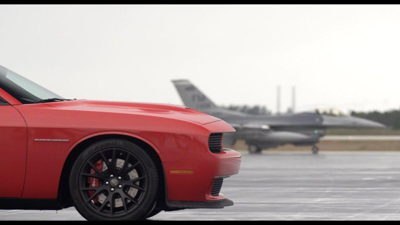 Dodge Challenger SRT Hellcat vs F16 Fighter Jet: Road ...